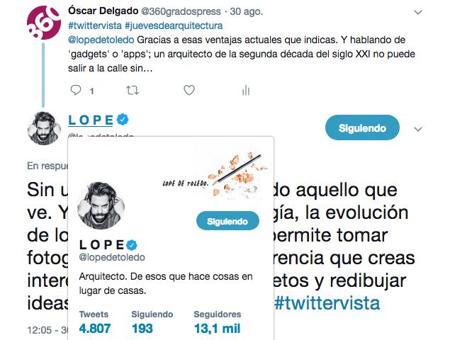 Fragmento de la #twittervista realizada a @lopedetoledo el pasado 30 de agosto